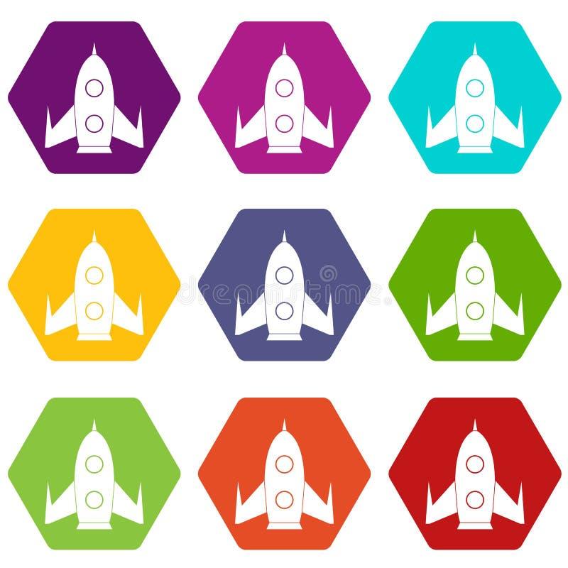 Rocket icon set color hexahedron stock illustration