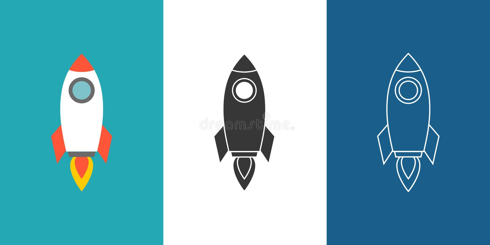 Rocket icon set. Flat design vector illustration