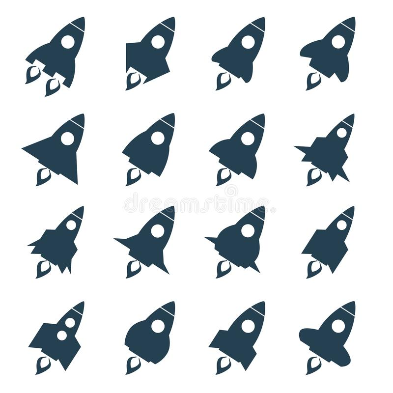 Rocket icon set. Space craft silhouette, black vehicle, future project and startup, royalty free illustration