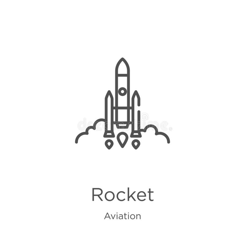 Rocket icon vector from aviation collection. Thin line rocket outline icon vector illustration. Outline, thin line rocket icon for. Rocket icon. Element of vector illustration