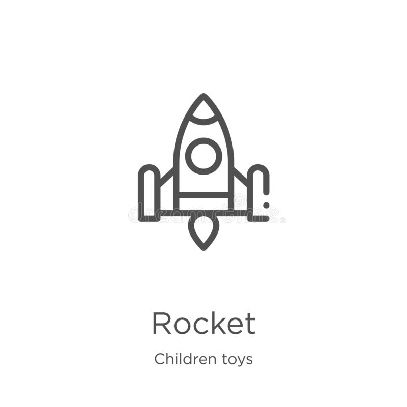 rocket icon vector from children toys collection. Thin line rocket outline icon vector illustration. Outline, thin line rocket royalty free illustration