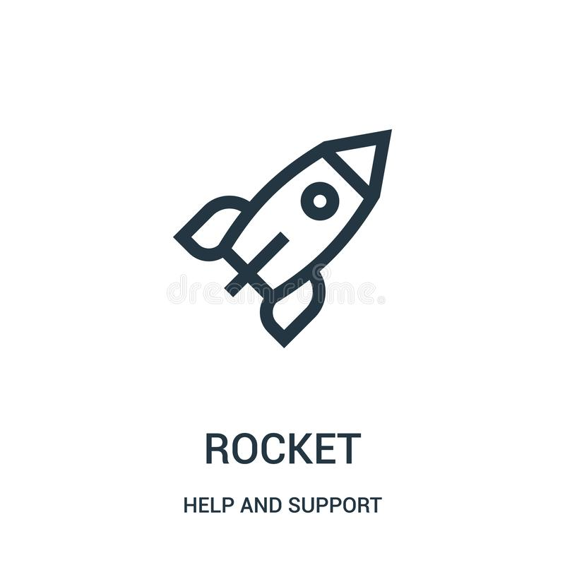 rocket icon vector from help and support collection. Thin line rocket outline icon vector illustration. Linear symbol for use on stock illustration