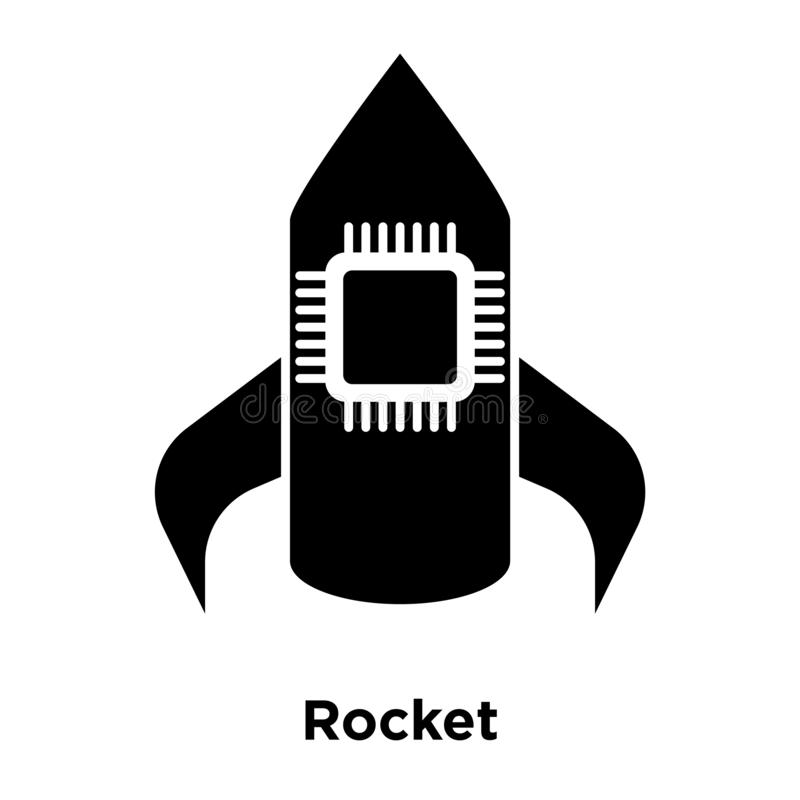 Rocket icon vector isolated on white background, logo concept of. Rocket sign on transparent background, filled black symbol vector illustration