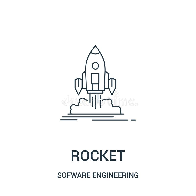 rocket icon vector from sofware engineering video gaming collection. Thin line rocket outline icon vector illustration. Linear royalty free illustration