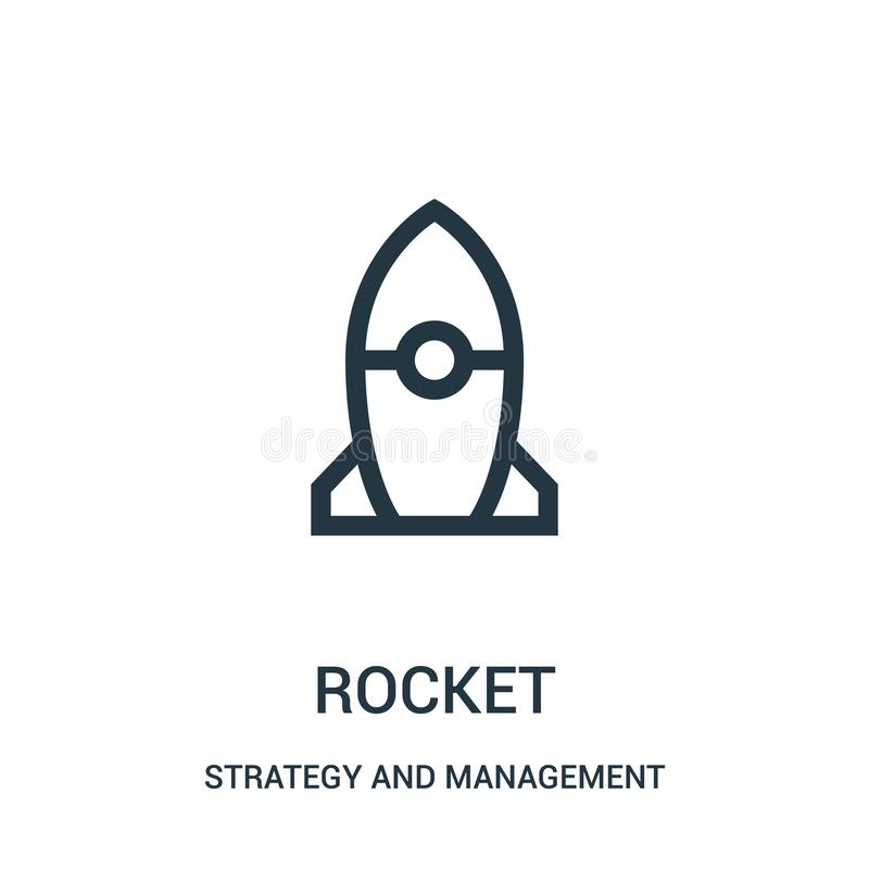 Rocket icon vector from strategy and management collection. Thin line rocket outline icon vector illustration. Linear symbol for use on web and mobile apps vector illustration