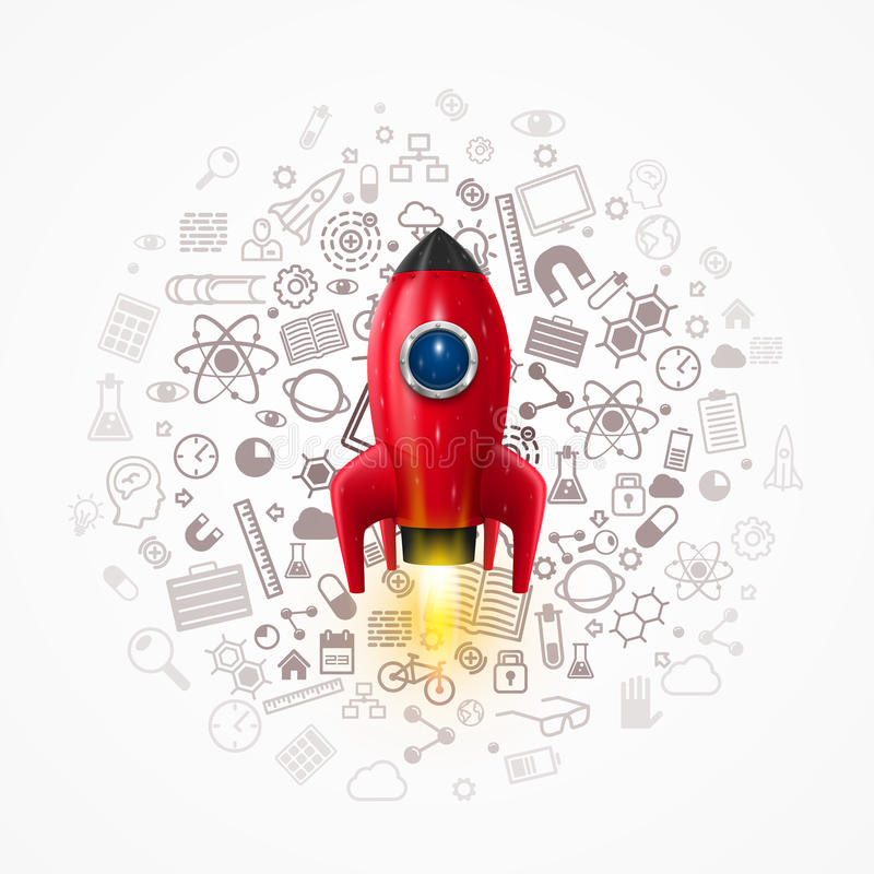 Rocket with icons on the background vector illustration