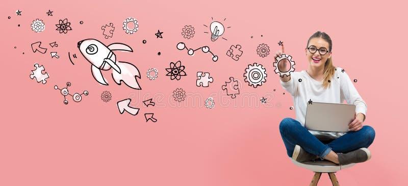 Rocket Illustration avec la jeune femme illustration libre de droits