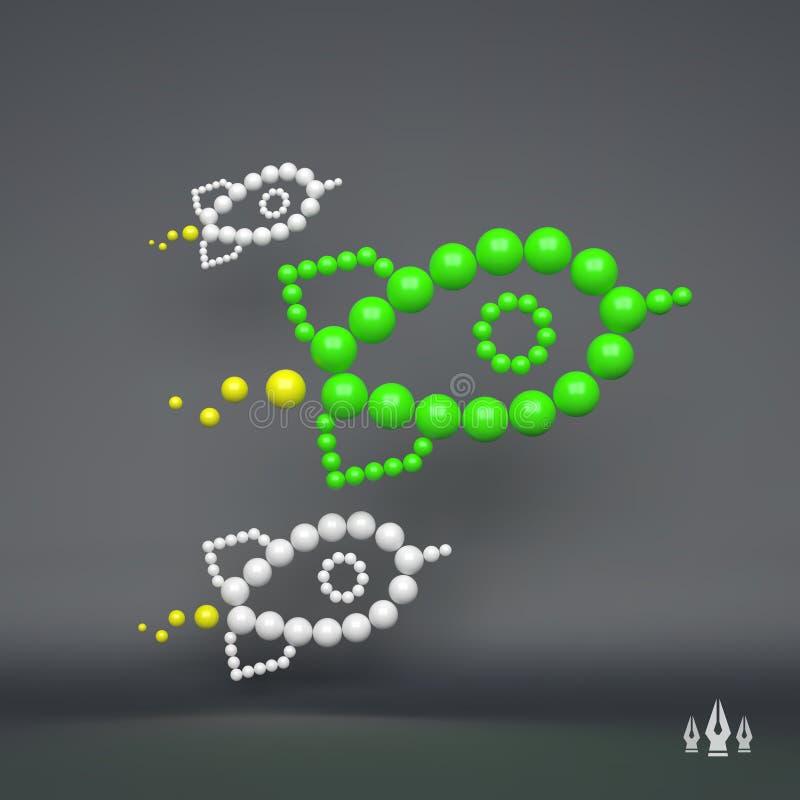 Rocket illustration du concept 3D pour le marketing composition en sphères 3d illustration de vecteur