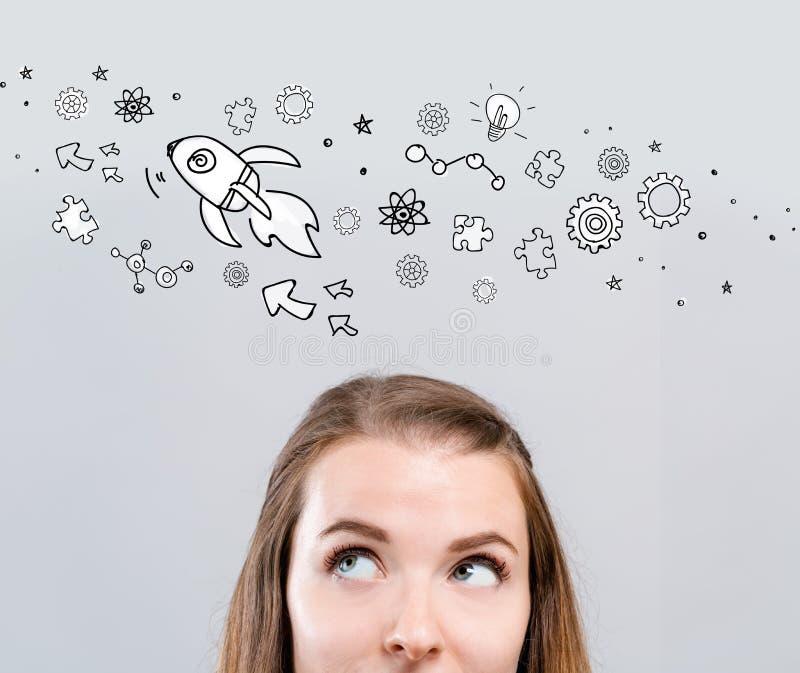 Rocket Illustration med den unga kvinnan royaltyfri foto