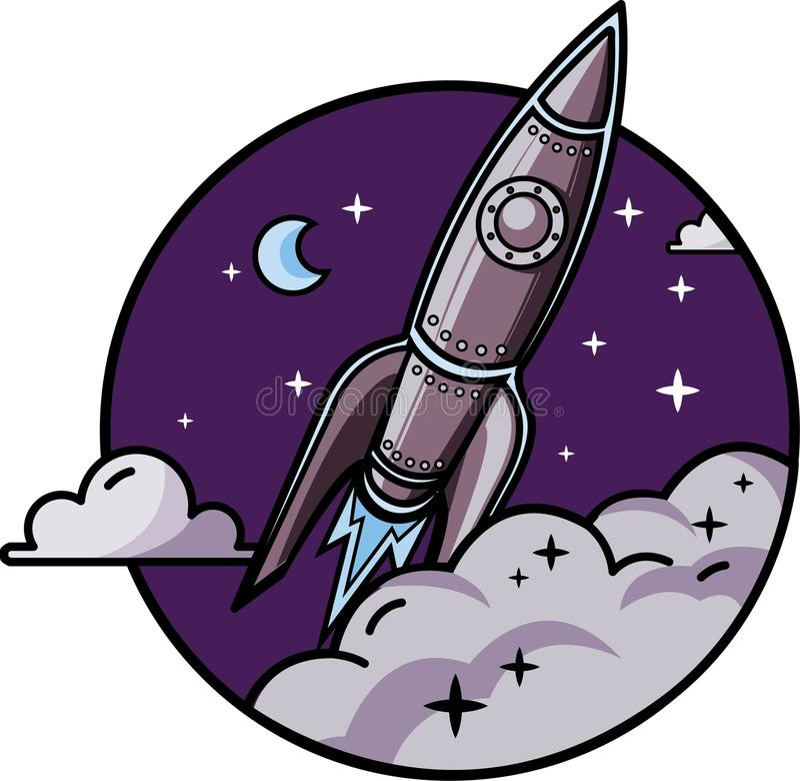 Rocket im Platz lizenzfreie stockbilder