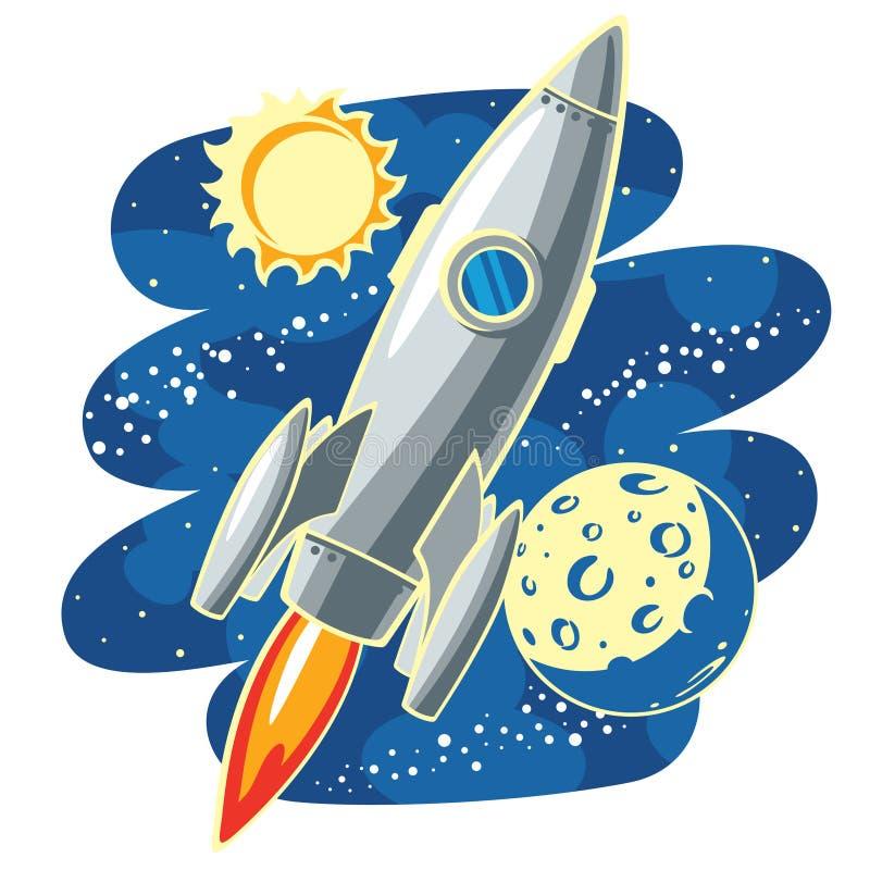 Rocket im Platz lizenzfreie abbildung