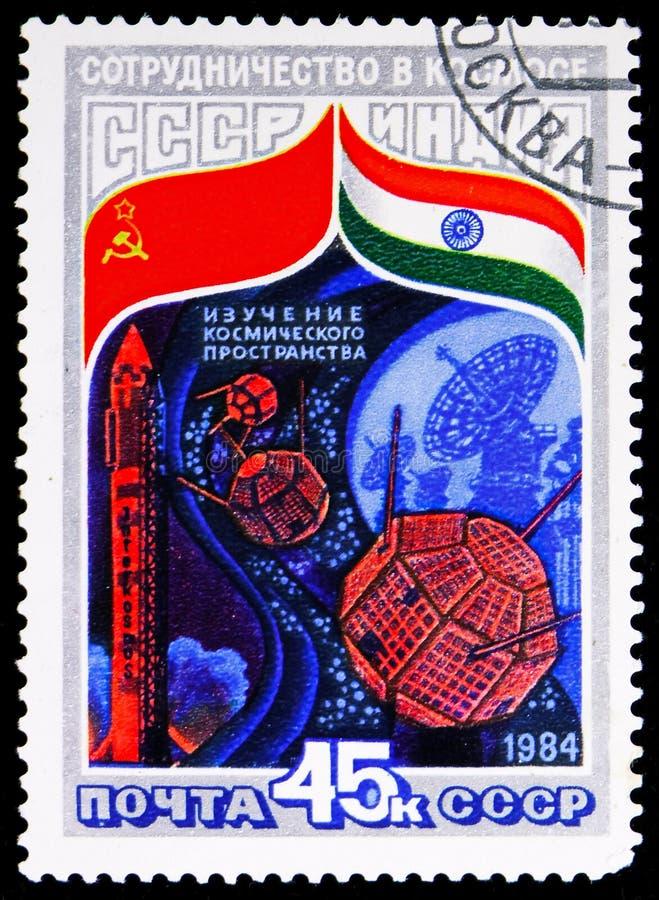Rocket Intercosmos , satellites and dish aerials, Soviet-Indian Space Flight serie, circa 1984 stock image