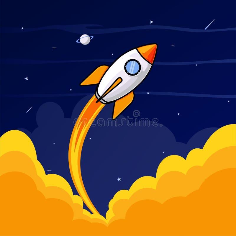 Rocket intorno all'illustrazione dello spazio illustrazione vettoriale