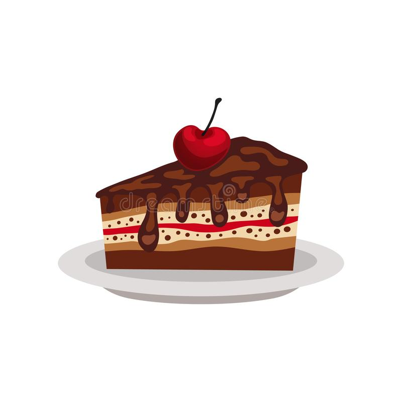 Piece of layered chocolate cake with cherry on a plate stock illustration