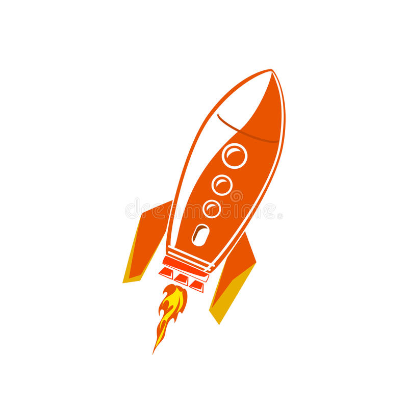 Download Rocket Isolated Rouge Sur Le Blanc Illustration de Vecteur - Illustration du exploration, navette: 76084421