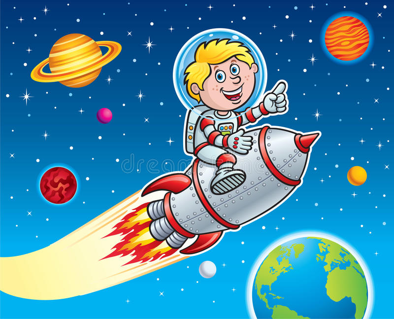 Rocket Kid Blasting Through Space ilustração royalty free