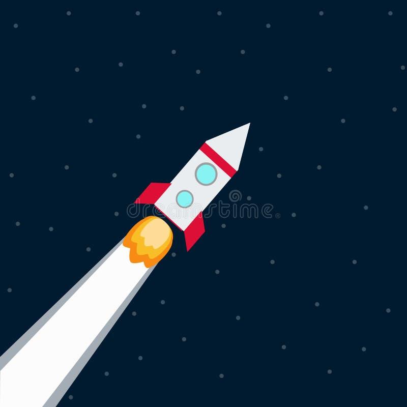 Rocket La nave espacial saca con el fuego stock de ilustración