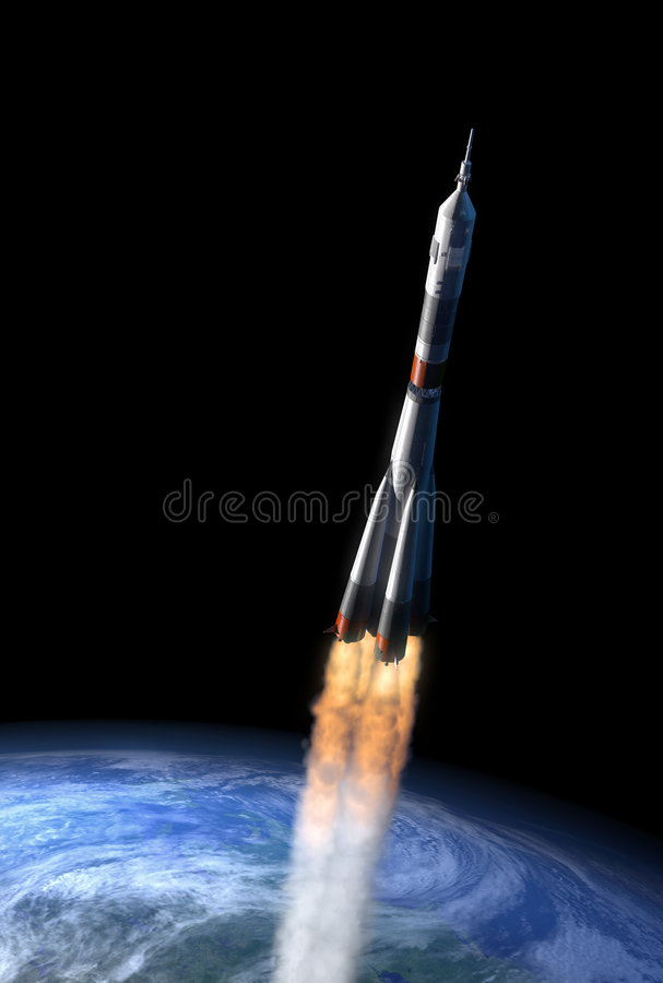 Rocket laissant l'attraction universelle terrestre illustration stock