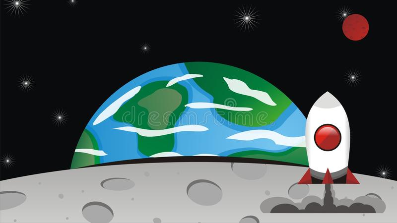 Rocket Landing in The Moon. Vector Rocket into space from earth, cartoon big resolution, fun, illustration, background, stars, sky, CorelDraw, EPS, fly, moon vector illustration