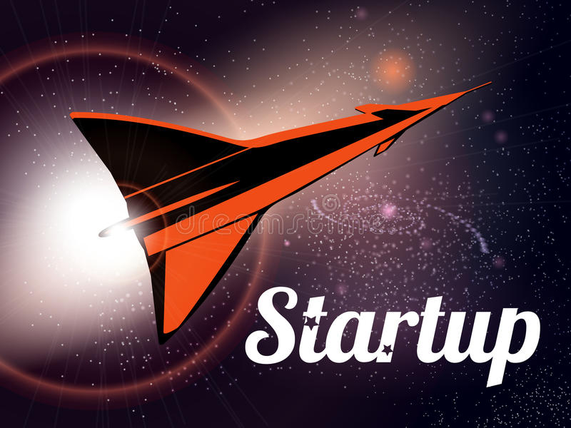 Rocket launch as metaphor startup. Rocket fly at yhe stars space. Vector image. royalty free illustration