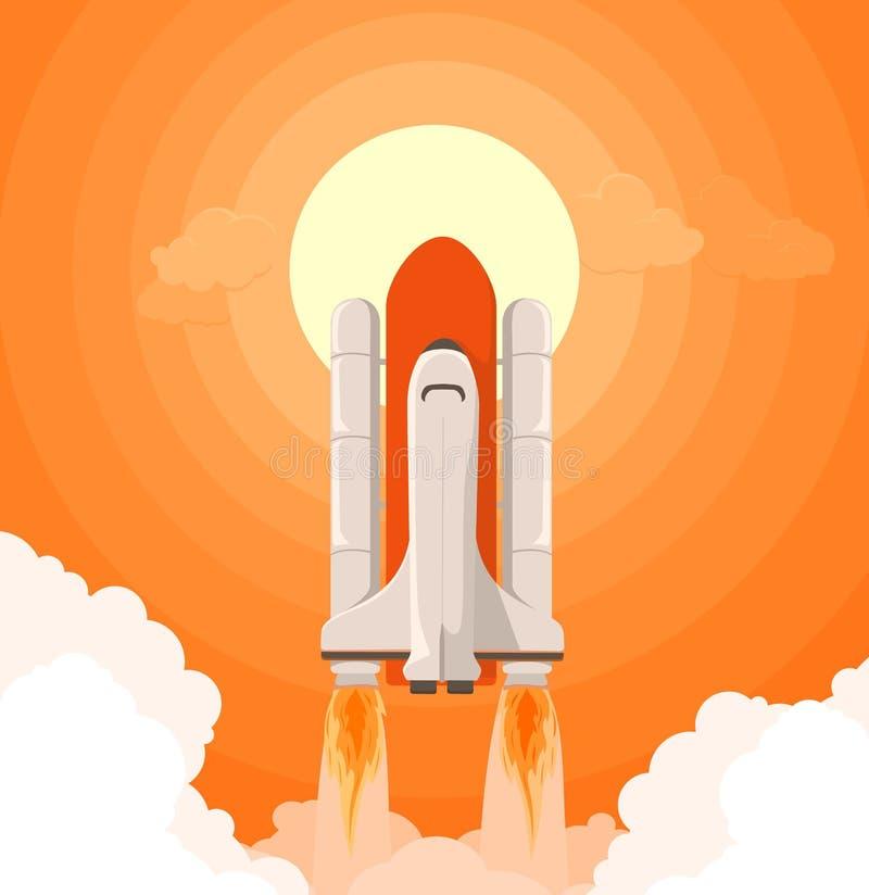 Rocket Launch On The Background pesado del ejemplo plano determinado del vector del estilo del sol anaranjado ilustración del vector