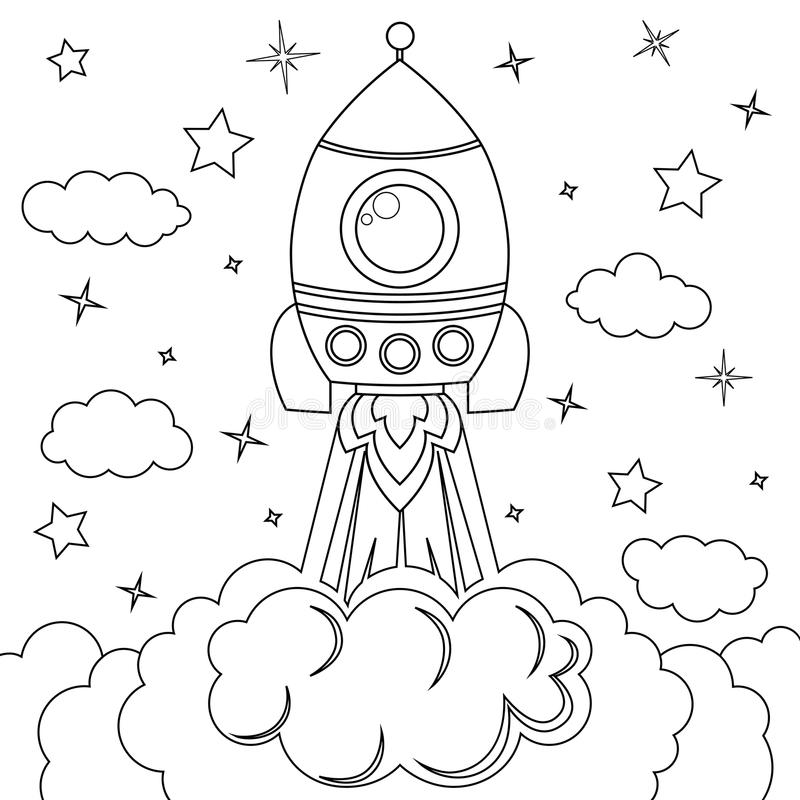 Rocket launch. Black and white vector illustration for coloring book. Vector illustration royalty free illustration
