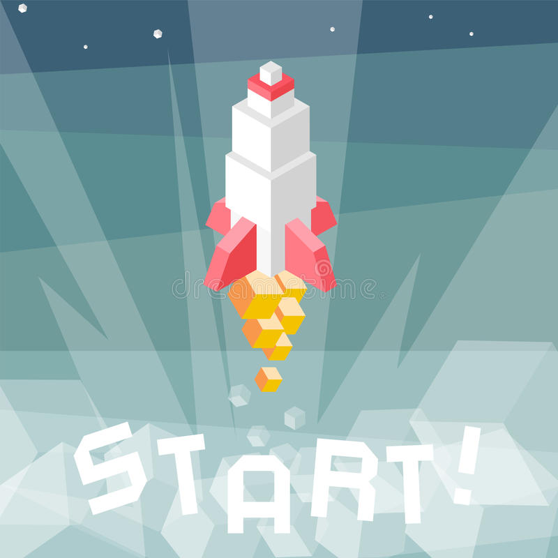Rocket launch. Business startup metaphor. Cubes composition isometric vector illustration of cruise missile. New product, successf stock illustration