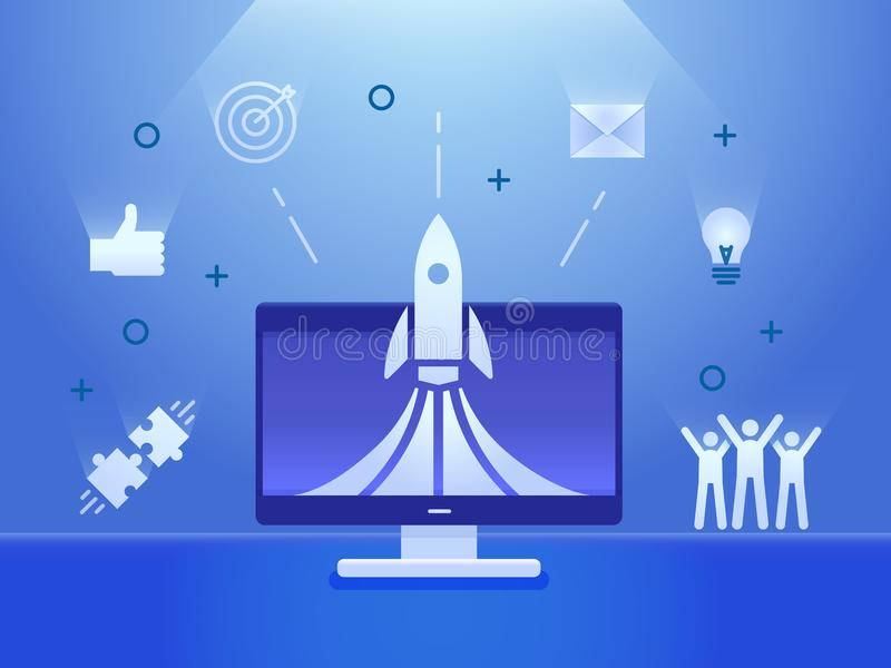 Rocket launch on a computer screen with business icons banner. Vector illustration concept for startups, teamwork. Business, social media, creative strategies vector illustration