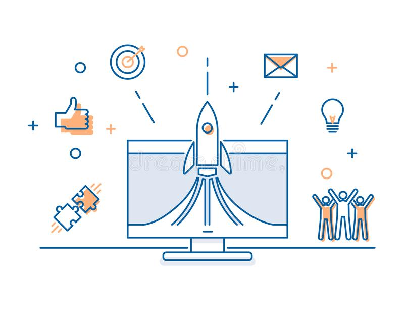 Rocket launch on a computer screen with business icons banner. Vector illustration concept for successful startup launch. Teamwork, business, social media vector illustration
