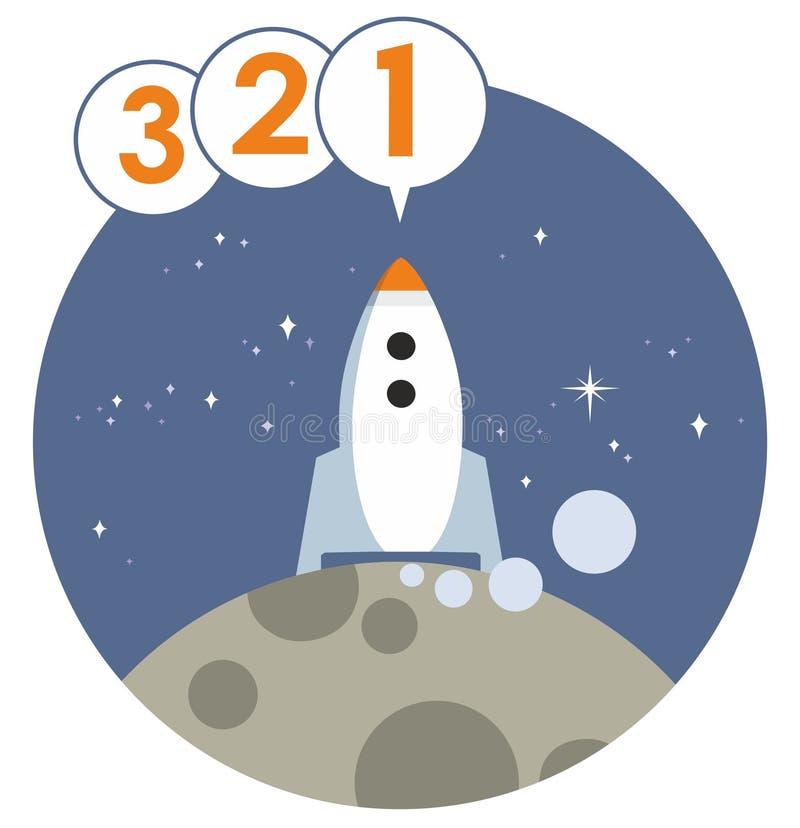 Rocket Launch Countdown Vetora Graphic ilustração royalty free