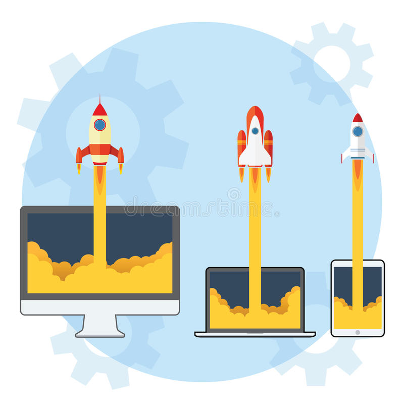 Rocket Launch. 3 Different Rocket Launch from Gadget and Computer stock illustration
