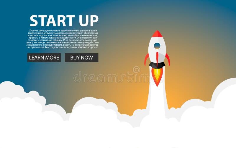Rocket Launch El nuevo proyecto comienza para arriba concepto en estilo plano del diseño Espacio para el texto Ilustración del ve ilustración del vector