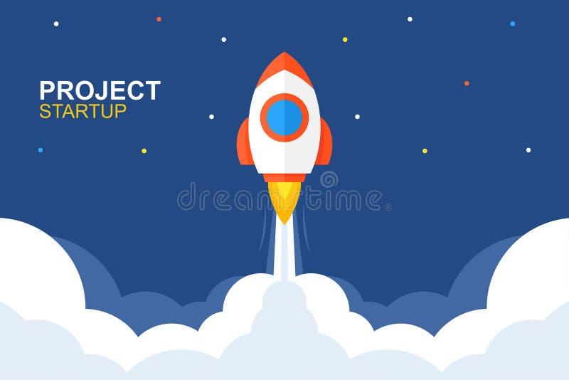 Rocket Launch Flache Art vektor abbildung
