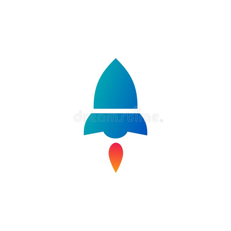 Rocket Launch future startup icon. Vector illustration style is flat iconic symbol, blue and red colors, vector illustration royalty free illustration