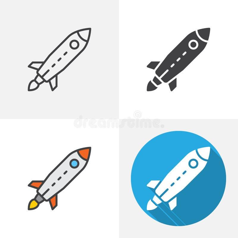 Rocket Launch Icon stock illustrationer