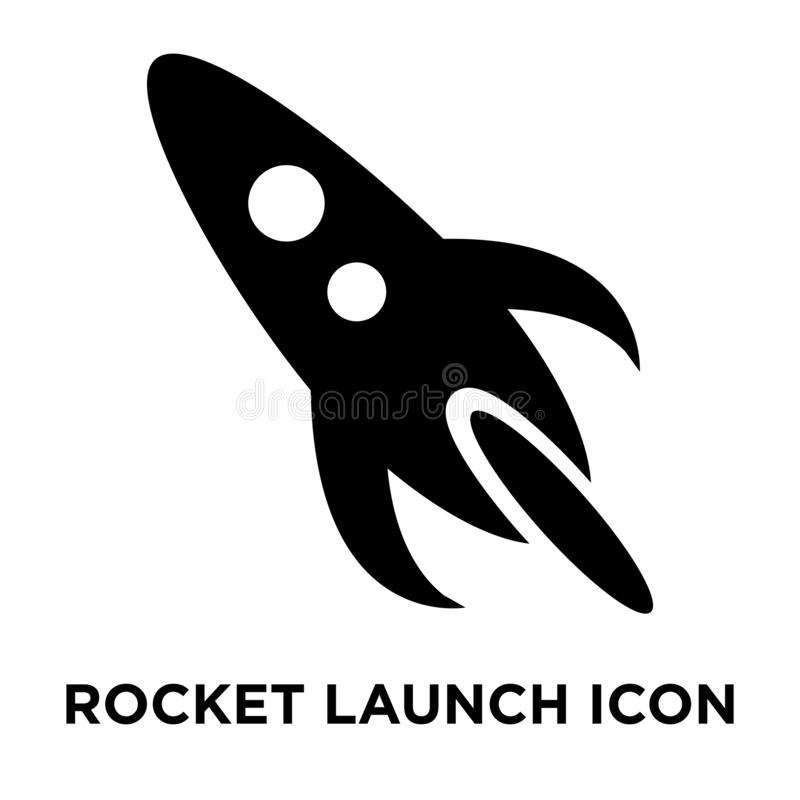 Rocket launch icon vector isolated on white background, logo con. Cept of Rocket launch sign on transparent background, filled black symbol stock illustration