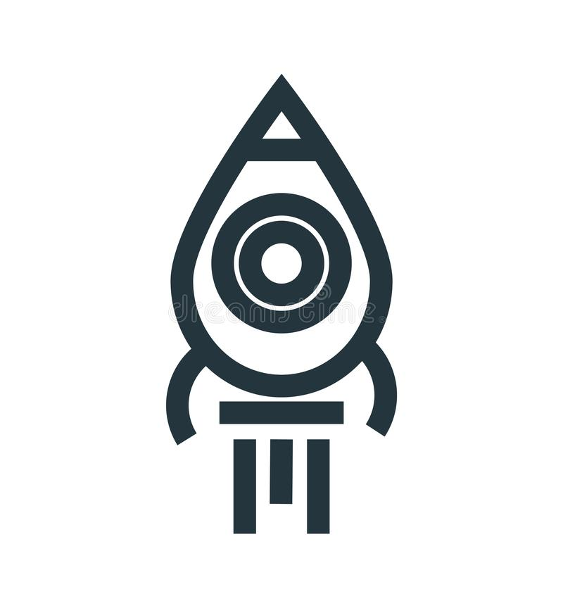 Rocket launch icon vector sign and symbol isolated on white background, Rocket launch logo concept. Rocket launch icon vector isolated on white background for royalty free illustration