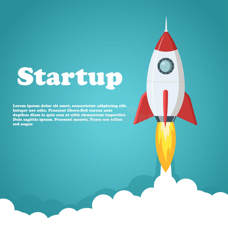 Rocket launch illustration. Business or project startup banner concept. Flat style vector illustration. stock illustration