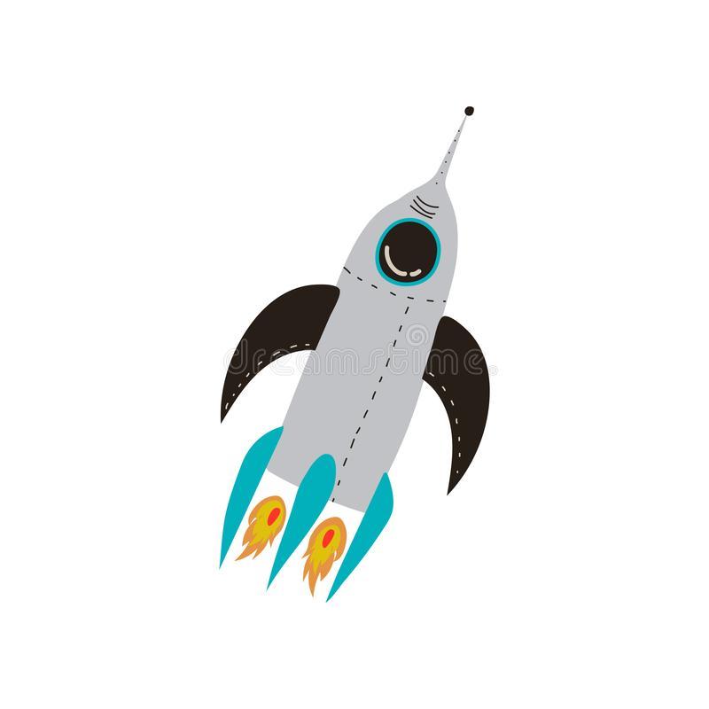 Rocket Launch, Kosmos-Thema-Gestaltungselement-Karikatur-Vektor-Illustration vektor abbildung