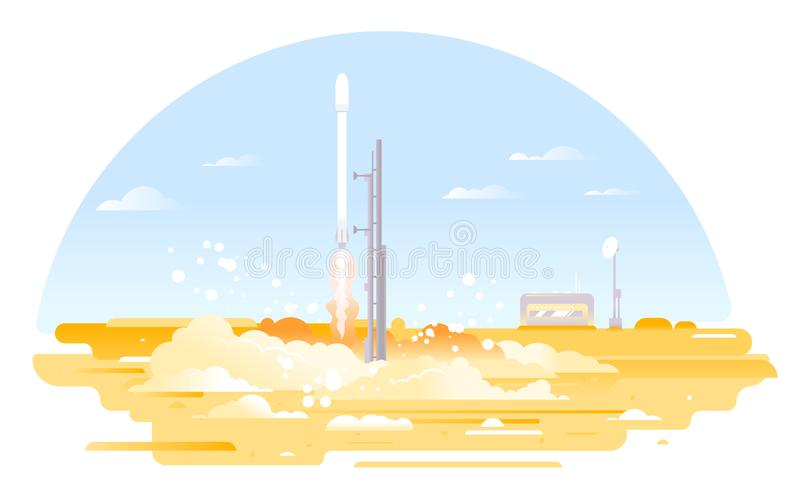 Rocket launch from the launch pad royalty free illustration