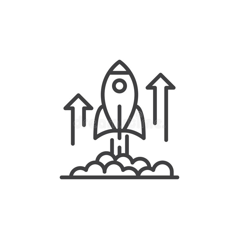 Rocket launch line icon, outline vector sign, linear pictogram isolated on white vector illustration