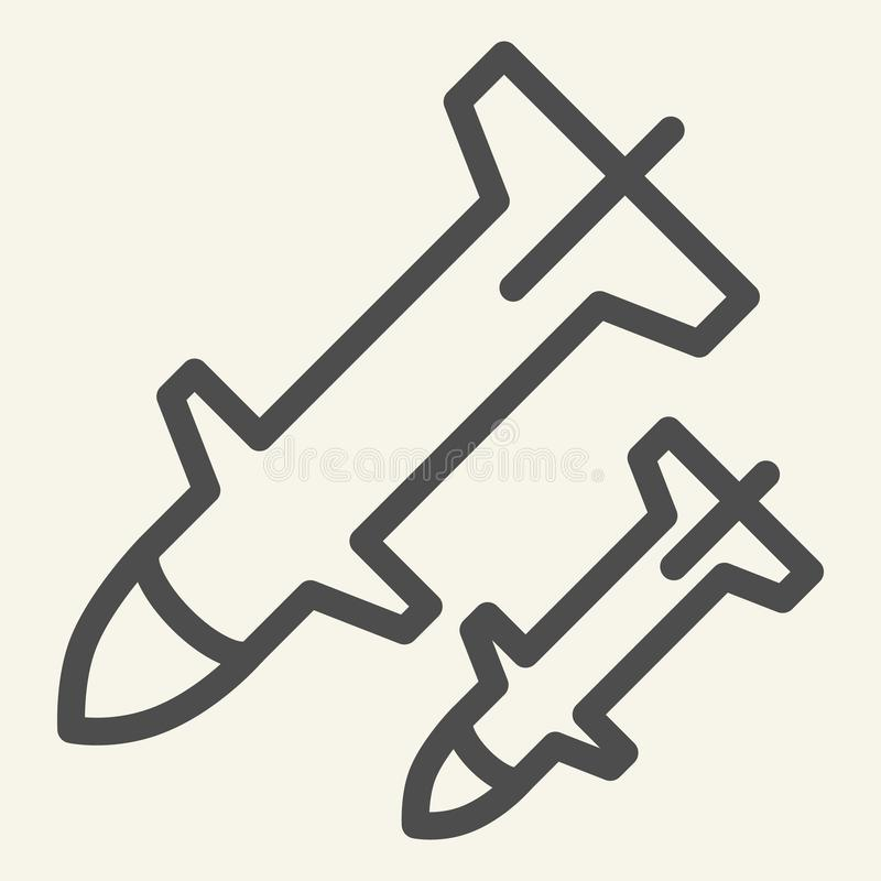 Rocket launch line icon. Weapon vector illustration isolated on white. Missile outline style design, designed for web. And app. Eps 10 stock illustration