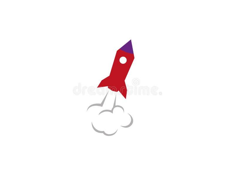 Rocket Launch met dik rook en stofembleem royalty-vrije illustratie