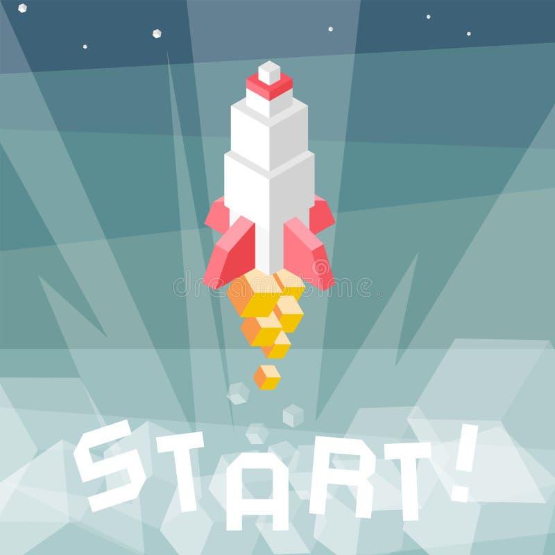Rocket Launch Metafor för affärsstart Skära i tärningar den isometriska vektorillustrationen för sammansättning av kryssningsrobo stock illustrationer