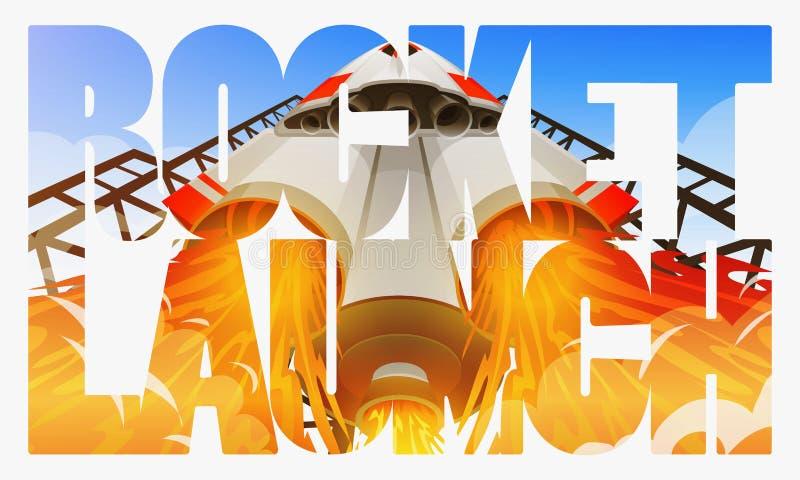 Rocket Launch Nave espacial internacional, canela no espaço, vista inferior Tecnologia e ciência, nave espacial ou navio no ilustração stock
