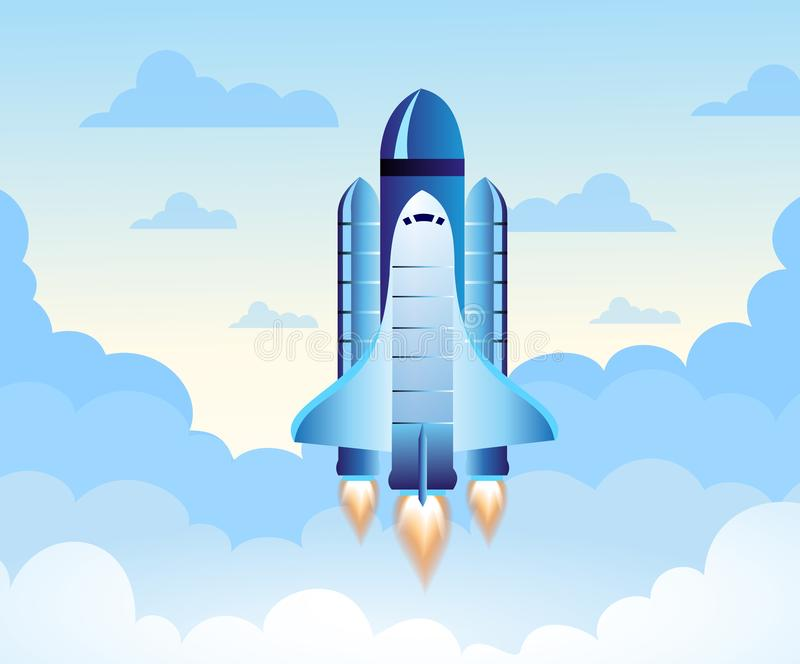 Rocket launch. New project start up concept in flat design style. Space for text. Vector illustration. vector illustration