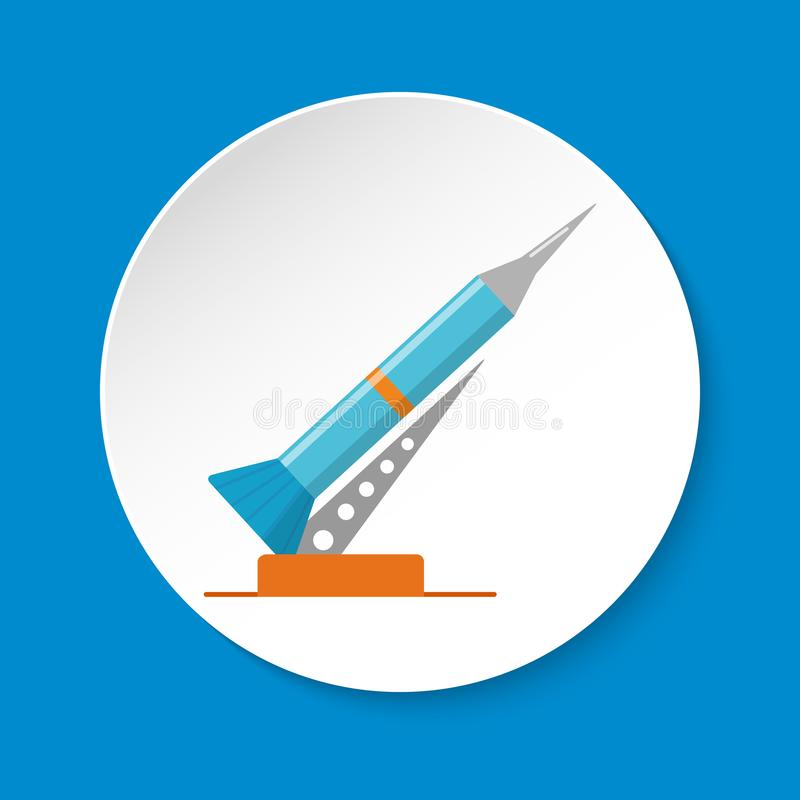 Rocket and launch pad icon in flat style on round button stock illustration