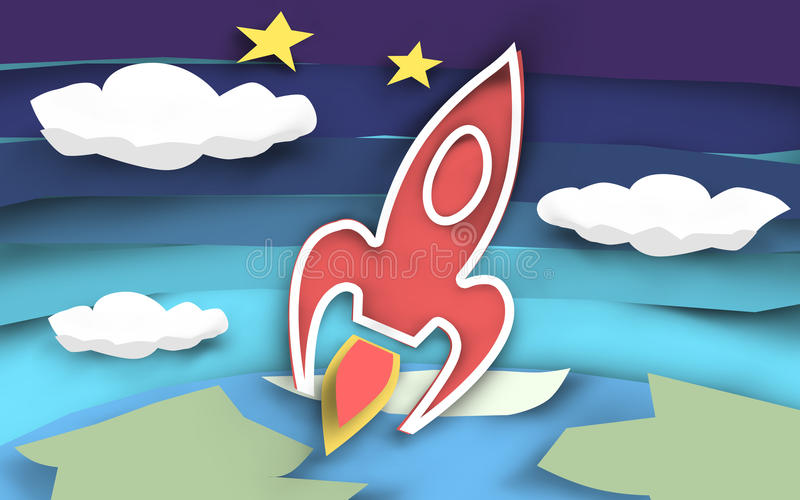 Rocket Launch Paper Cut vector illustratie