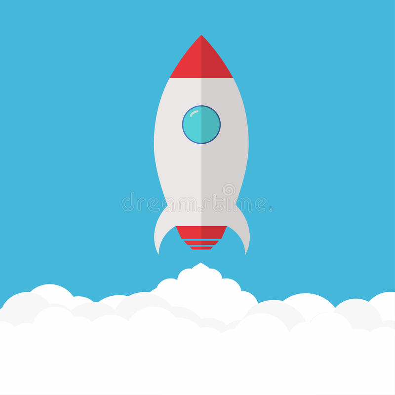 Rocket launch. Project startup and development process stock illustration