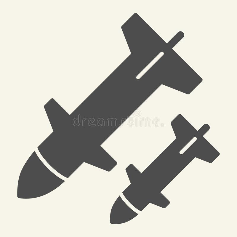 Rocket launch solid icon. Weapon vector illustration isolated on white. Missile glyph style design, designed for web and. App. Eps 10 royalty free illustration